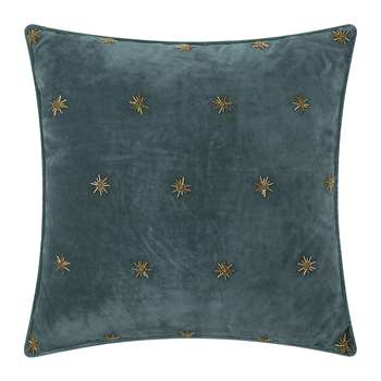 Joanna Buchanan - Embroidered Velvet Star Cushion - Dark Grey (H50 x W50cm)