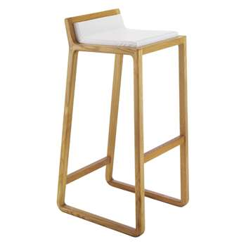 Joe Solid Oak Bar Stool With Leather Upholstered Seat (H87 x W41 x D46cm)
