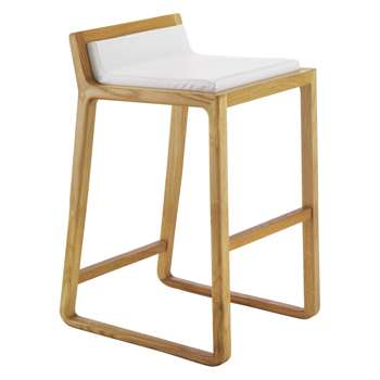 Joe Solid Oak Low Stool With Leather Upholstered Seat (H72 x W41 x D46cm)
