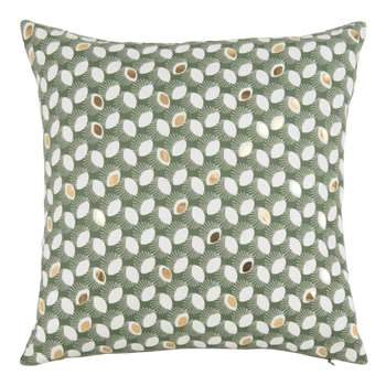 JOETSU - Green Cushion Cover with White and Gold Pattern (H40 x W40cm)