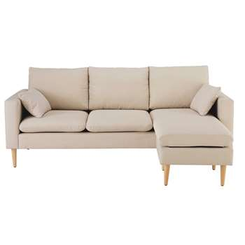 JOEY Beige 3/4-seater fabric modular corner sofa (85 x 205cm)