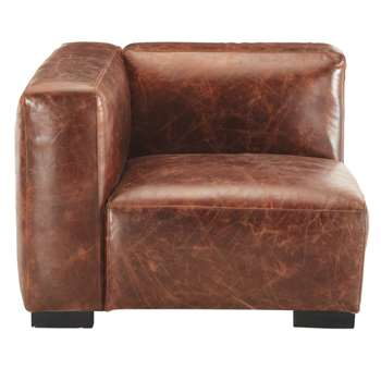 JOHN Leather left sofa arm unit in brown (68 x 97cm)