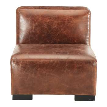 JOHN Leather low sofa in brown (68 x 71cm)