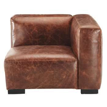 JOHN Leather right sofa arm unit in brown (68 x 97cm)
