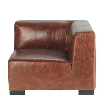 JOHN Leather sofa corner unit in brown (68 x 96cm)