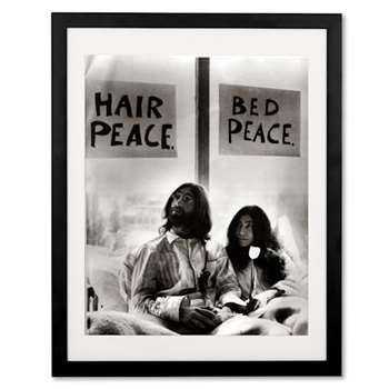 John Lennon in bed with Yoko Ono by Mirrorpix, Framed Print (H53 x W43 x D3cm)