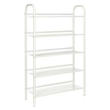 John Lewis 5 Tier Shoe Rack, White (120 x 75cm)