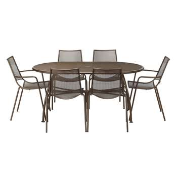 John Lewis Ala Mesh 6-Seater Table & Chairs Dining Set, Bronze (73 x 160cm)