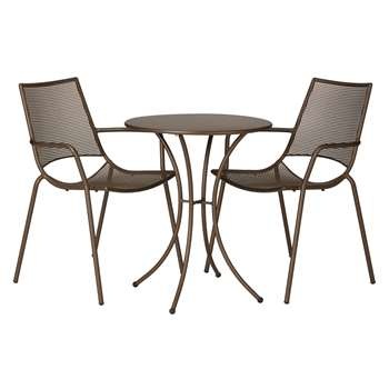 John Lewis Ala Mesh Garden Table and Chairs Bistro Set, Bronze