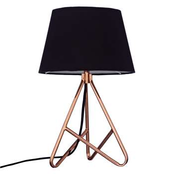 John Lewis & Partners Albus Twisted Table Lamp, Black / Copper (H40 x W25 x D25cm)
