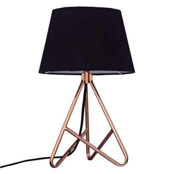 John Lewis & Partners Albus Twisted Table Lamp, Black / Copper (H40 x W25 x D25cm)