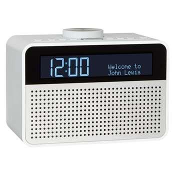 John Lewis Astro DAB+/FM Digital Clock Radio with Alarm & LCD Display, White (11.4 x 15.7cm)