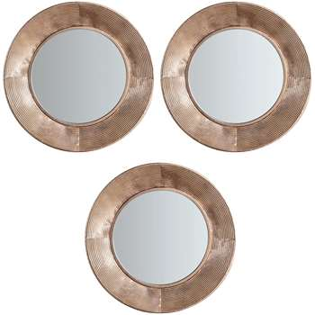 John Lewis & Partners Aurelia Trio Round Mirrors, Metallic, Set of 3 (H51 x W51 x D5cm)