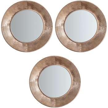 John Lewis Aurelia Trio Round Mirrors, Metallic, Set of 3 (H51 x W51 x D5cm)