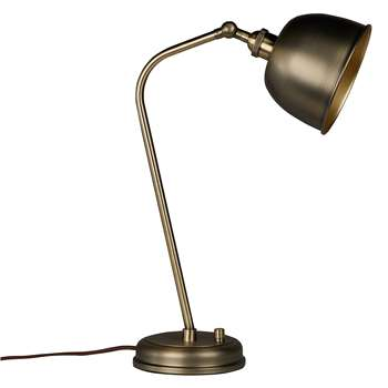 John Lewis & Partners Baldwin Desk Lamp, Antique Brass (H47 x W36 x D15.7cm)