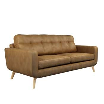John Lewis Barbican Large 3 Seater Leather Sofa, Light Leg, Demetra Light Tan (H90 x W196 x D98cm)