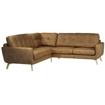 John Lewis Barbican Leather Corner Sofa, Light Leg, Demetra Light Tan (H90 x W256 x D98cm)