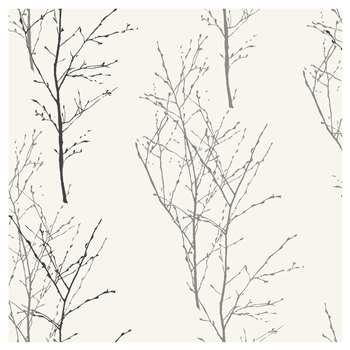John Lewis Birch Wallpaper, Monochrome