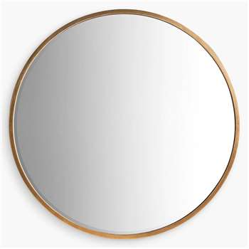 Cade Round Mirror, Antique Gold (Diameter 80cm)