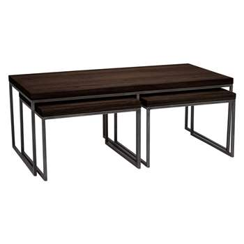 John Lewis Calia Coffee Table with Nest of 2 Tables, Dark (Width 120cm)