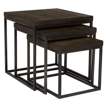 John Lewis Calia Nest Of 3 Tables, Dark (50 x 50cm)