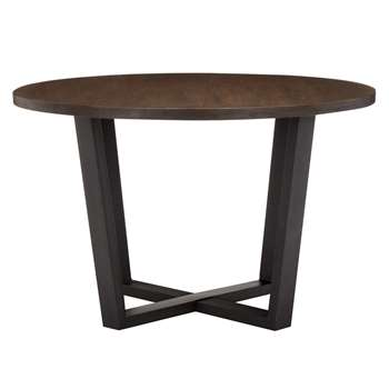 John Lewis Calia Round 6 Seater Dining Table, Dark (76 x 120cm)