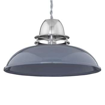 John Lewis Carmine Easy-to-Fit Ceiling Shade, Pewter (H16 x W30 x D30cm)