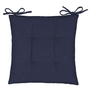 John Lewis & Partners Chambray Cotton Seat Pad, Blue (H43 x W43cm)