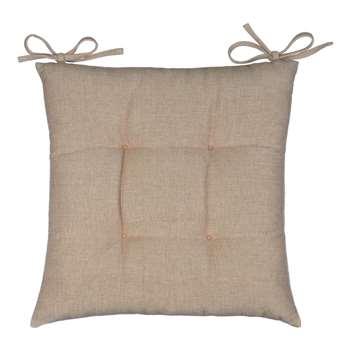 John Lewis & Partners Chambray Cotton Seat Pad, Natural (H43 x W43cm)