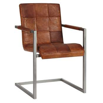 John Lewis Classico Leather Office/Dining Chair, Tan (86 x 56cm)