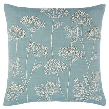 John Lewis Cow Parsley Cushion Duck Egg (H40 x W40cm)