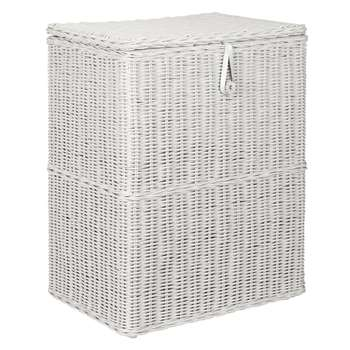 Croft Collection Double Linen Basket, Grey 68 x 55cm