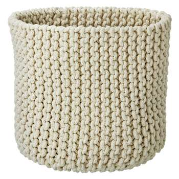 Croft Collection Knitted Basket, Cream (30 x 30cm)
