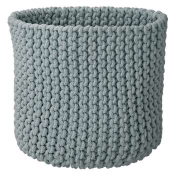 Croft Collection Knitted Basket, Grey (30 x 30cm)