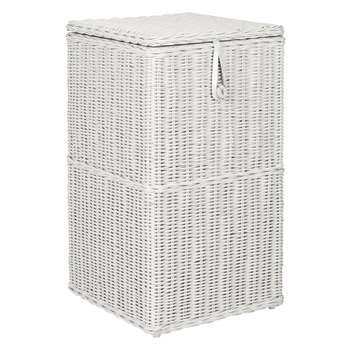 Croft Collection Rattan Square Linen Bin, Grey 68 x 40cm