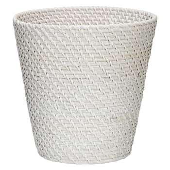 Croft Collection Rattan Wastepaper Bin, White (Height 26cm)