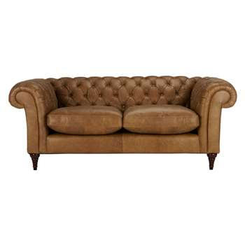 John Lewis Cromwell Chesterfield Leather 3 Seater Sofa, Dark Leg - Luster Cappucino 77 x 199cm