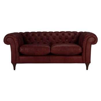 John Lewis Cromwell Chesterfield Leather 3 Seater Sofa, Dark Leg - Old Saddle Oxblood 77 x 199cm
