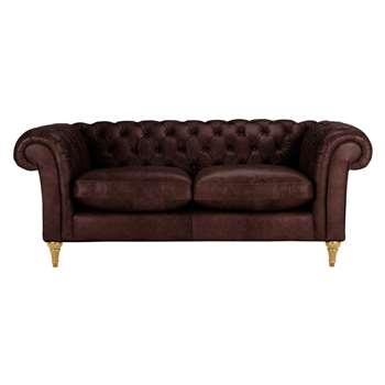 John Lewis Cromwell Chesterfield Leather 3 Seater Sofa, Light Leg - Denver Cedar 77 x 199cm