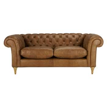John Lewis Cromwell Chesterfield Leather 3 Seater Sofa, Light Leg - Luster Cappucino 77 x 199cm