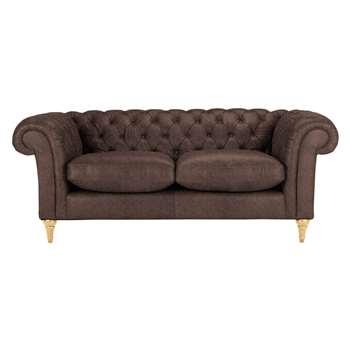 John Lewis Cromwell Chesterfield Leather 3 Seater Sofa, Light Leg - Madras Chocolate 77 x 199cm