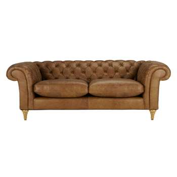 John Lewis Cromwell Chesterfield Leather 4 Seater Sofa, Light Leg - Luster Cappucino 77 x 229cm