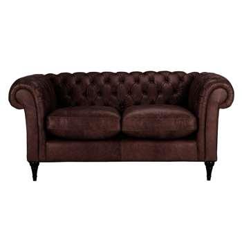 John Lewis Cromwell Chesterfield Leather Small 2 Seater Sofa, Dark Leg - Denver Cedar 77 x 169cm