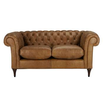 John Lewis Cromwell Chesterfield Leather Small 2 Seater Sofa, Dark Leg - Luster Cappucino 77 x 169cm