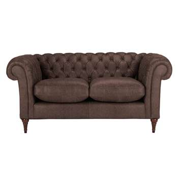 John Lewis Cromwell Chesterfield Leather Small 2 Seater Sofa, Dark Leg - Madras Chocolate 77 x 169cm
