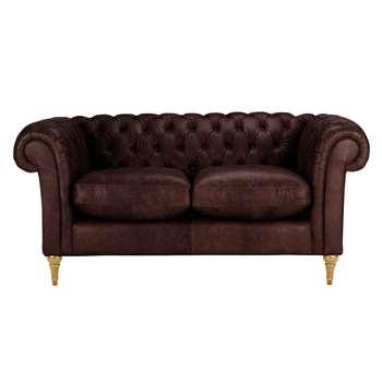John Lewis Cromwell Chesterfield Leather Small 2 Seater Sofa, Light Leg - Denver Cedar 77 x 169cm