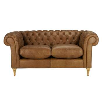 John Lewis Cromwell Chesterfield Leather Small 2 Seater Sofa, Light Leg - Luster Cappucino 77 x 169cm