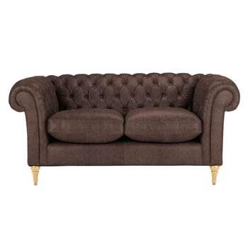 John Lewis Cromwell Chesterfield Leather Small 2 Seater Sofa, Light Leg - Madras Chocolate 77 x 169cm