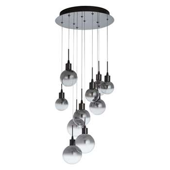 John Lewis Dano LED Ombre Glass Ceiling Light, 10 Light, Black/Chrome (120 x 35cm)
