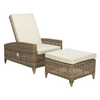 John Lewis Dante Luxe Outdoor Sun Lounger with Foot Stool, Natural (H100 x W73 x D97cm)
